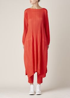 Issey Miyake PLEATS PLEASE Red Draped Bottom Dress