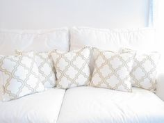 Elegant Gold and White Decorative Trellis Pillow, 16x16 inch decorative pillow, pillow sets, pillow cover, cushion cover, Gold Home Decor on Etsy, $32.00