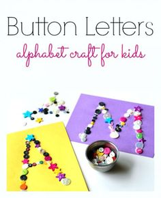 Use construction paper, buttons, and school glue to help teach your kids the letters of the alphabet. This kids craft will also help develop writing and fine motor skills. #educationalcrafts #learningactivities