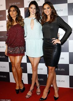 Three's a crowd: Brazilian stars Sabrina Sato (left) and Bruna Marquezine (pictured right) joined Kendall at the event