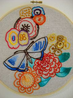 embroidery on linen. how to use the random floss collection