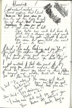 George Harrison's handwritten lyrics to Here Comes the Sun