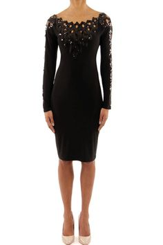 Black knit dress with an applique sequin V in the front and back.  Sequin Applique Dress by Joseph Ribkoff. Clothing - Dresses - LBD New Jersey