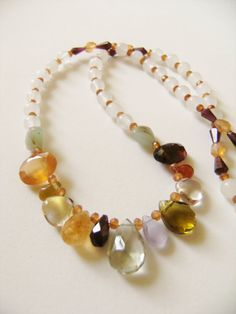 Beautiful One-Of-A-Kind Handmade Gemstone Necklace...    Necklace does have a silver spring clasp...  Length Is Aprox. 9 Inches (clasped) - measured top