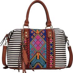 Aztec and Striped Print Boston Satchel