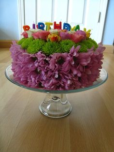 birthday cake floral arrangement Floral Birthday Cake in Montreal