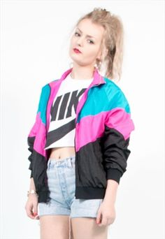 90's Colour Block Shell Tracksuit Jacket Top