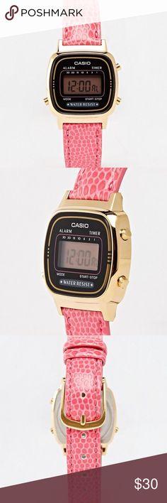 Pink Digital Watch Casio mini pink leather digital watch. Casio Accessories Watches
