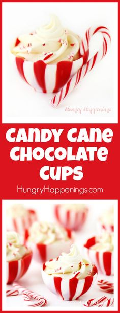 These striped Candy Cane Chocolate Cups are so pretty and they are easier to make than you'd imagine. I have a video tutorial to show you how to make them in your own kitchen. Fill them with Peppermint Mousse, ice cream, pudding, candy, or nuts and serve for dessert or give as Christmas gifts.