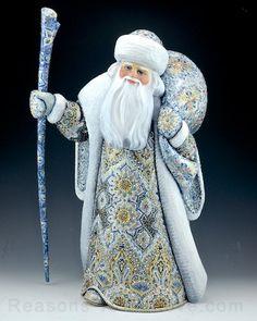 Christmas Luminescense Silver and Blue Russian Santa