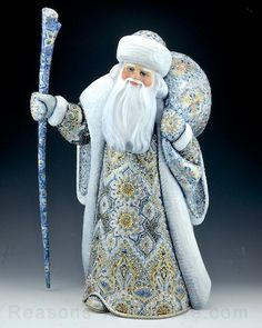 Christmas Luminescense Silver and Blue Russian Santa