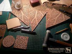 Making a leather lampshade with Moroccan style, handmade by JEWELEECHES VIVIAN HEBING! Do you want to see more of my artwork, find me on Facebook, Youtube, Etsy, Instagram etc. I also have tutorial video's on Youtube and I give workshops and courses leathercrafting too! >>>Ik geef ook workshops en cursussen LEERBEWERKING ( omgeving Eindhoven), daarin leer je de basistechnieken die je nodig hebt om de meest gave dingen te maken van natuurlijk gelooid leer! Zie mijn webshop www.jeweleeches.nl