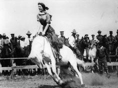 Girl on a Bucking Horse ~ Miss Cheyenne ~ Colorado Springs Colorado ~ 1917