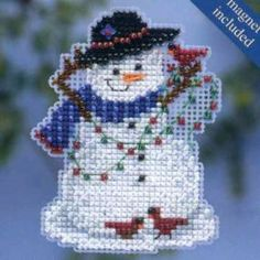 Snow Fun Beaded Cross Stitch Kit Mill Hill 2014 Winter Holiday - $5.49