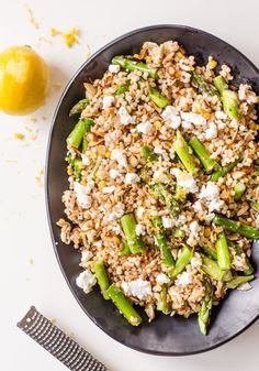 This salad is a little celebration of the fact that, at least around here, Meyer lemon season overlaps with the beginning of the spring asparagus feast. The sweet and herbal citrus plays beautifully with a chewy mix of farro, pearl couscous, and crisp asparagus. Toss in some almonds and goat cheese and lunch is ready!