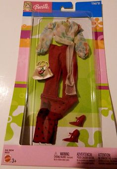 Barbie Fashion Avenue Cool Retro Red Bell Bottom Pants Peasant Top Fashion | eBay