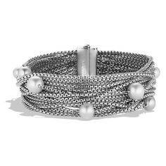 David Yurman Sixteen-Row Chain Bracelet with Pearls (102645 RSD) ❤ liked on Polyvore