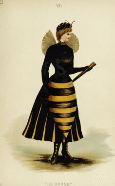 """Hornet costume from """"Fancy Dresses Described; or, What to Wear at Fancy Balls,"""" by Ardern Holt, Victorian Fancy Dress, Victorian Costume, Victorian Halloween, Mode Costume, Costume Dress, Mode Bizarre, Nanu Nana, Ballet Russe, Witch Costumes"""