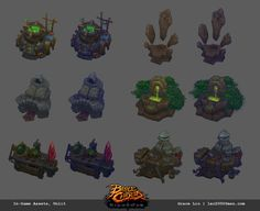Crafting stations and resource node props I've concepted and built for Battle Chasers: Night War. Also quite amazing to see them come to life in game with the help of our amazing animators. Battle Chasers, Game Props, Game Assets, Game Design, Game Art, Bowser, The Help, Concept Art, Character Design