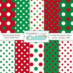 Christmas Dots Free Digital Paper Pack - printable scrapbook paper perfect for scrapbooking, gift tags & labels, gift card holders, DIY Christmas cards, and more! #polkadot #dots