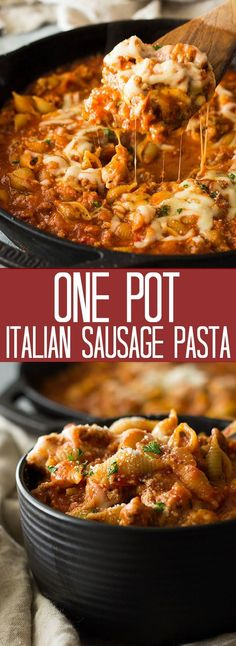 One Pot Italian Sausage Pasta is an easy 30 minute meal. It's filled with simple ingredients and big on flavor!This One Pot Italian Sausage Pasta is an easy 30 minute meal. It's filled with simple ingredients and big on flavor! Ground Italian Sausage Recipes, Sausage Crockpot Recipes, Sausage Recipes For Dinner, Italian Sausage Pasta, Pork Recipes, Crockpot Italian Sausage, Sausage Pasta Bake, Italian Sausages, Recipes Using Sausage Meat