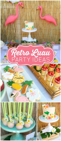 How cool is this retro Luau for a graduation party ? More party ideas can be fo. How cool is this retro Luau for a graduation party ? More party ideas can be found at Cat … Aloha Party, Party Fiesta, Tiki Party, Festa Party, Beach Party, Luau Theme Party, Flamingo Party, Flamingo Birthday, Grad Parties