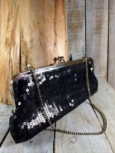 Ann Taylor Loft - Black Sequin Clutch Bag - Sequence black handbag clutch -Sequined Evening Handbags - Sequins Evening Bags  by BostonInventory