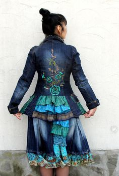 Reserved for Missy Blue denim jeans and India sari by jamfashion