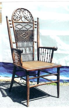 Victorian wicker chair with beads, curls and beading
