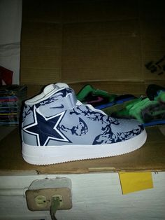 Dallas Cowboys Custom Nike Air Force 1  Contact for ordering details, I customize sneakers as well as action figures, clothing, purses, bracelets, snap backs and much more.  Any team can be created for these, custom hand painted/air brushed sneakers. The splatter detail was all done free hand. Once paintng is complete I seal with a special finisher to prevent cracking and harm to the sneakers. Orders can take anywere from 2-8 weeks. I require atleast a down payment of base sneaker cost…