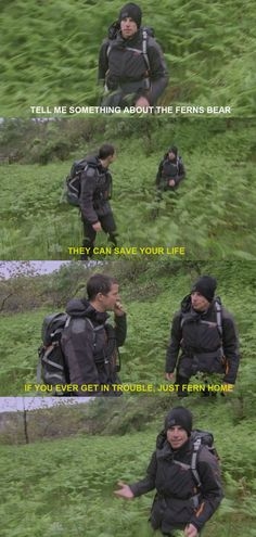 Bear Grylls on ferns.