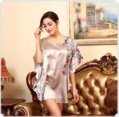 5a49cd3ac0 Intimates- Sexy Silk Loose Nightgown Butterfly Print- Plus Size Nighshirt Sleepwear  Sleepwear Women