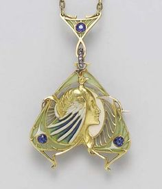 ART NOUVEAU - SAPPHIRE, ENAMEL AND 18K GOLD PENDANT NECKLACE, BY LUCIEN GAUTRAIT. 3 circular-cut sapphires, 7 single-cut diamonds, pendant may be worn as a brooch, circa 1900, with French assay marks, signed LGautrait for Lucien Gautrait. <3