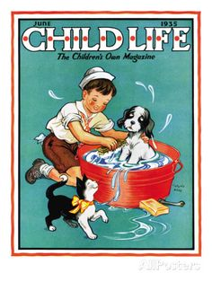 Time For a Bath - Child Life, June 1935 Giclee Print by Clarence Biers at AllPosters.com