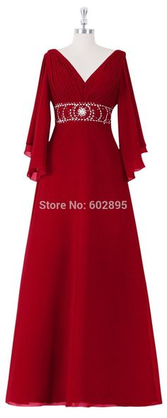 Find More Prom Dresses Information about 2015 Modest A line Chiffon Long Sleeves Prom Dresses Plus Size Beaded Band V neck Customized Formal Dress Prom Real Photos,High Quality dress formal dress,China dress zipper Suppliers, Cheap dress business from youthbridal on Aliexpress.com