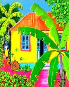 Made by local artist from the island of Curacao, Nena Sanchez` Love the colors - wish I was there on this cold rainy day. Colorful Paintings, Watercolor Paintings, Beach Paintings, Colourful Art, Watercolors, Scrapbooking Image, Haitian Art, Caribbean Art, Tropical Art