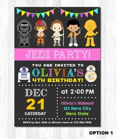 Exceptional Star Wars Invitation Star Wars Girl Invitation Star By KidzParty