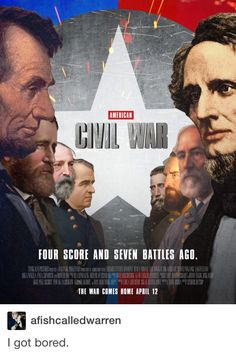 I was confused and then I remembered...there was a legitimate civil war...with generals and soldiers and stuff