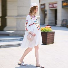 57.86$  Buy here - http://alip67.worldwells.pw/go.php?t=32715194626 - Loose White Maternity Dresses Summer Embroidery Fringed High Waisted Cotton Short Sleeved Fashion Stylish Pregnant Women Dress