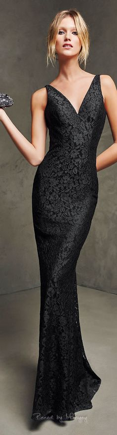 Pronovias 2016. Would make a gorgeous bridesmaid dress or mother of the bridge or goom gown. black lace