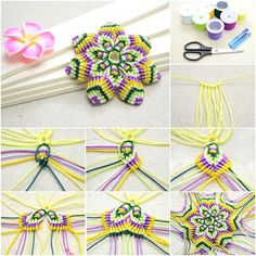 How to DIY Rainbow Macrame Flower with Double Half Hitch