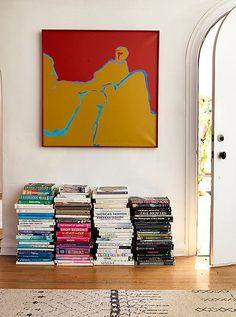 Books on the floor.