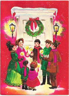 Vintage Christmas card from Medallion Greetings 5751. Carolers.