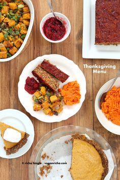 Vegan Lentil Quinoa Loaf, Cornbread Stuffing, Spicy Cranberry Sauce, Pumpkin Pie.