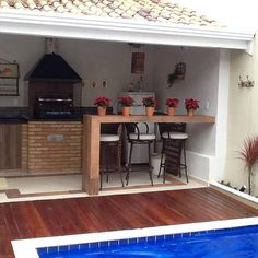 piscinas i ui Decor, House Design, House, Home, Outdoor Kitchen Design, Small Pool Design, New Homes, Home Deco, Outdoor Kitchen