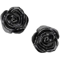 Amazon.com: Black Rose Studs Pair of Earrings by Alchemy Gothic:... ($15) ❤ liked on Polyvore featuring jewelry, earrings, rose gold tone earrings, goth jewelry, earring jewelry, gothic earrings and rose gold tone jewelry