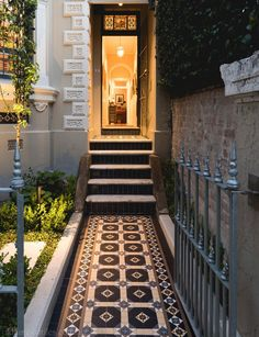Olde English Tiles Manchester pattern with the Enmore borderBlack wall tile. Front Path, Front Door Steps, Front Doors, Victorian Terrace, Victorian Homes, Victorian Townhouse, Modern Victorian, Porch Tile, Tile Steps