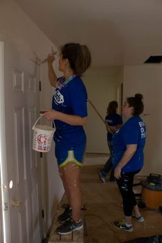 Habitat for Humanity. -- Alyse and Catie did a lot of painting inside the kitchen and living room.