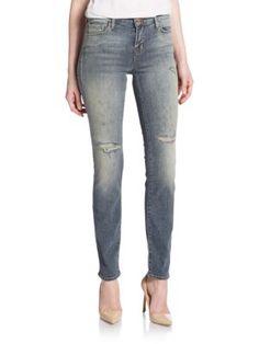J BRAND 811 Mid-Rise Distressed Skinny Jeans. #jbrand #cloth #jeans