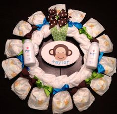 Personalized DIAPER WREATH Baby Shower Gift Custom Initial Decoration - Blue Green Brown - Monkey Theme Boy. $40.00, via Etsy.